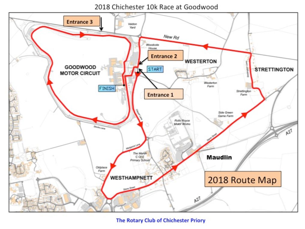 Chichester 10k Road Race Map