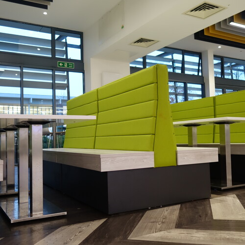 Barton Peveril College high back sofa soft seating in dining area