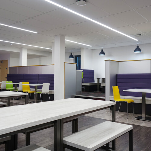 Barton Peveril College benches, café style chairs and tables in dining area