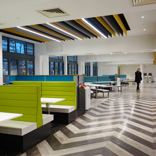 Barton Peveril College soft seating in dining area