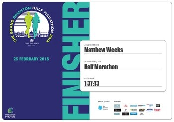 Matt Weeks Brighton Half Marathon Time